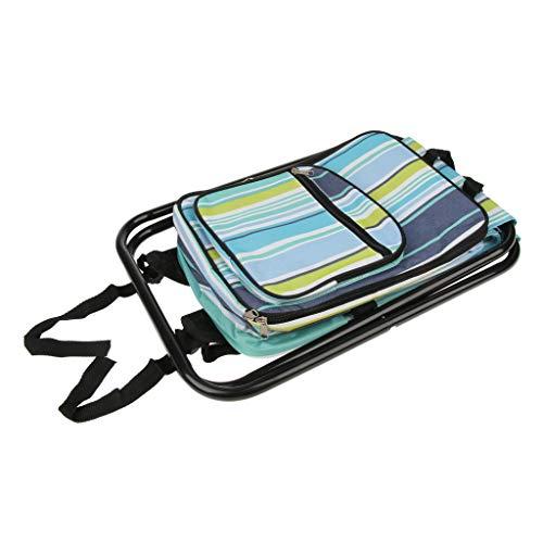 perfk Camping Rucksack Klappbarer Hocker Tragbare Zusammenklappbar Stuhl - Blau