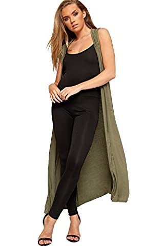 WearAll - Femmes Longue Maxi Ouvert Sans Manches Haut Veste Collier Plaine Cardigan - Vert Kaki - 36-38