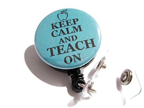 atlanyards Keep Calm and Teach On Retractable Badge Reel, Swivel Clip Badge Holder blaugrün (Badge Reel Für Männer)