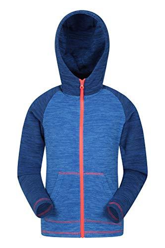 Mountain Warehouse Snowdonia Kinder-Hoodie - Mikrofleece-Jacke für Mädchen und Jungs, schnell trocknend, Keine Fusselbildung - für Reise und im Freien Kobalt 128 (7-8 Jahre)