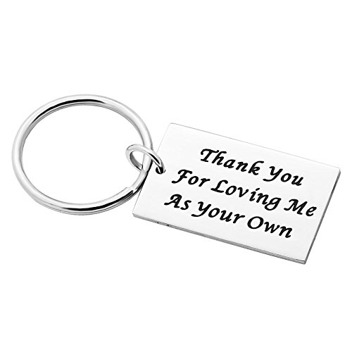 Stepdad stepmom regali portachiavi per madre padre–thank you for loving me as your own in acciaio inox