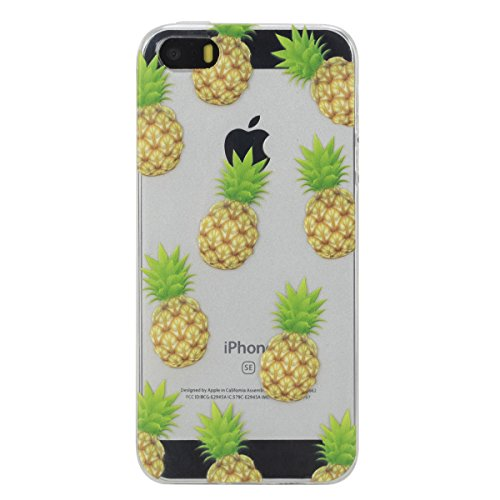 Coque pour iPhone SE, Housse Etui pour iPhone 5s, Lifetrut [AIR CUSHION] Transparent coloré Pattern doux TPU Gel Fashion Style Slim Rubber Silicone Protective Case For iPhone SE 5s 5 [Je crois que je  E214-Ananas