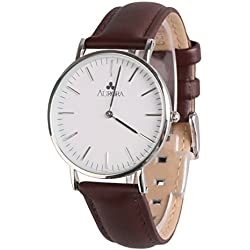 Aurora Women's Casual Business Analogue Quartz Waterproof Wrist Watch with Deep Brown Leather Band-Silver