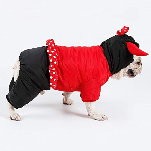 Haustier-Kleidung Halloween-Winter-Verdickung Vierbeinige Kleidung Cow Devil King Lovers Loaded Pets Weihnachten Halloween Funny Costumes (Color : Red, Size : M) (Baby Red Devil Kostüm)
