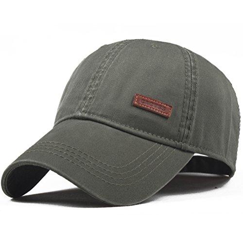 CACUSS Baumwolle Herren Mesh Baseball Cap einstellbar für Draussen Sport oder auf Reisen (B0080_Olive)