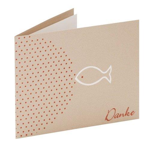 Rössler Papier Dankeskarten für Kommunion / Konfirmation B6 (3 Stück inkl. Einlegeblatt und Umschlag, 17,6 x 12,5 cm) taupe mit weißem Fisch-Motiv, Folienprägung in Kupfer