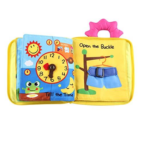 KESOTO Juguete de Aprendizaje Temprano de Bebés Libro Blando de Tela de Cremallera, Corbata, Hebilla, Botón
