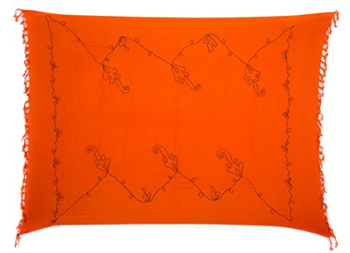 Original El Vertriebs Ciffre Sarong Pareo Wickelrock Strandtuch Lunghi Dhoti Wickeltuch Saunatuch Tolle Stickerei verschieden Farben + Schnalle Orange Schwarz