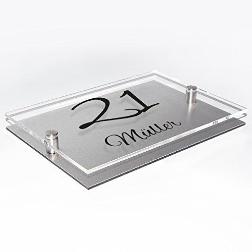 Wandkings Hausnummernschild – verschiedene Designs und Schriftarten wählbar / Schrift: Alex Brush – Name und Hausnummer - 4
