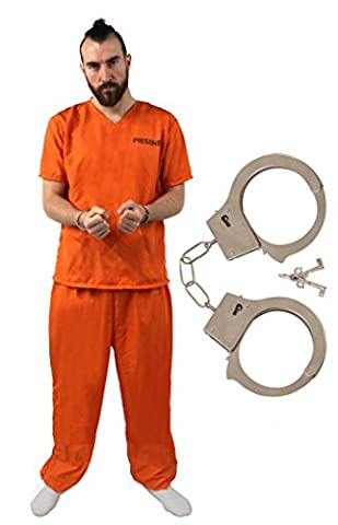 I Love Fancy Dress ilfd4563 x s + poignets Orange Convict Costume Prisonnier pour TV et film Personnage robe (XS)