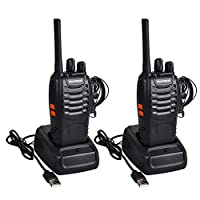 2PCS Walkie Talkie Rechargeable - Two Way Radio Walkie Talkies Long Range 16CH Walky Talky with Earpieces and LED Light Handheld Transceiver for Outdoor Field Survival Biking Hiking Camping, Black