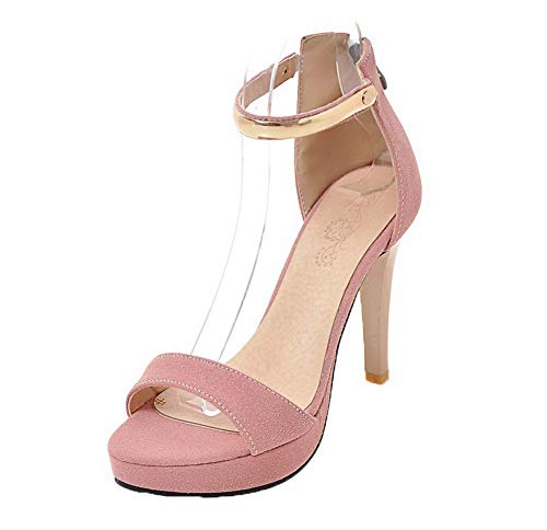 AgooLar Damen Mattglasbirne Hoher Absatz Offener Zehe Reißverschluss Sandalen, Pink, 32