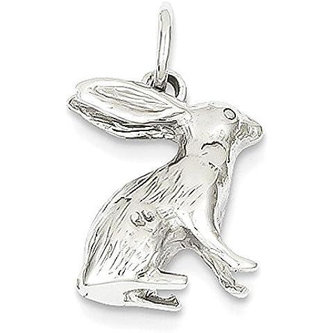 Oro bianco 14k massiccio lucidato 3-Dimensional Coniglio Charm