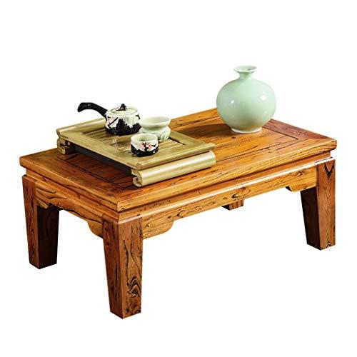 Tables Salon en Bois Massif Balcon Chinois Baie Vitrée Bureau Restaurant Petite À Manger Go Tatami Basses Basses (Color : Brown, Size : 60 * 40 * 30cm)