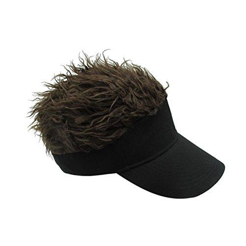 Lustige Kostüm Baseball - Flair Hair Herren Visier Cap Hut Wingbind Neuheit Blonde Haar Visor Baseball Cap mit Lustige Kunsthaar