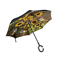 FOLPPLY Inverted Umbrella Sunflower Painting,Double Layer Reverse Umbrella Waterproof for Car Rain Outdoor with C-Shaped Handle