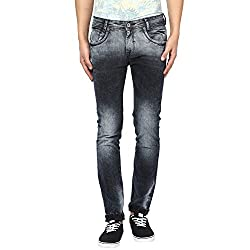 Mufti Mens Black Low Rise Narrow Fit Jeans (34)