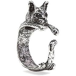 Serebra Jewelry anillo gato con tinte plateado ajustable