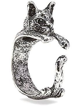 Katzen Ring mit Silbertönung Größenverstellbar by Serebra Jewelry