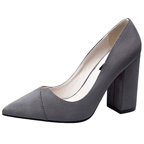 Oasap Women's Pointed Toe Slip on Chunky Heels Solid Pumps Grey