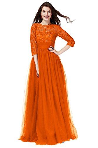 Victory Bridal Glamour Royal Blau Spitze Abendkleider Brautmutterkleider Lang mit Aermeln 2015 Neu Dunkel Orange
