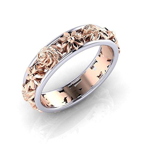 BBring Ringe für Damen, Kreative Blumen Doppelte Farbe Diamant Ring (Rose Gold, 19.8)