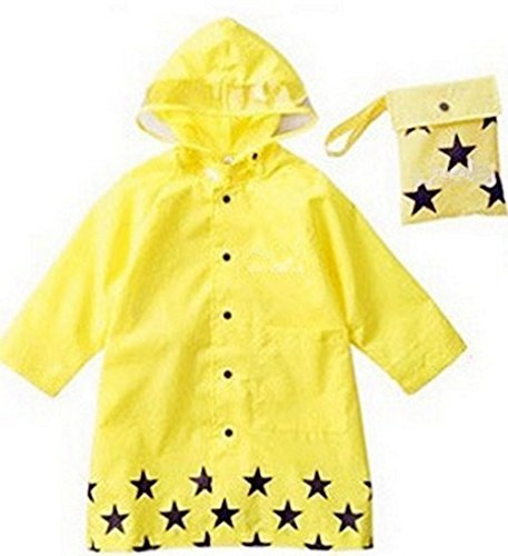 SKL Unisex Kid's Fashion Waterproof Cartoon Raincoat for boy or girl,4 sizes,3 colors (Yellow, X-large) by SKL