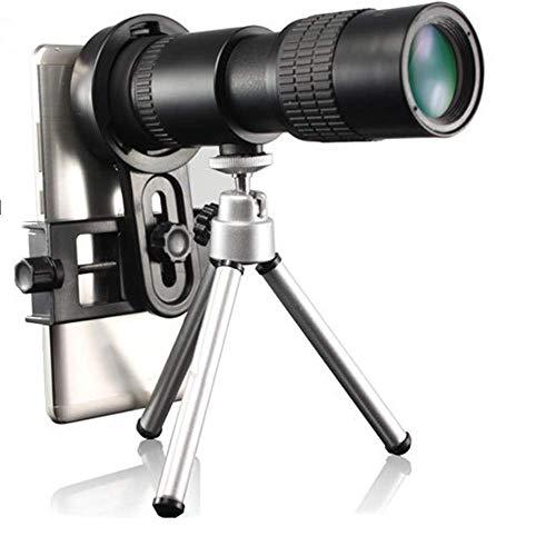 LEDU 10-30X HD telescopio de Bolsillo, visión Nocturna de Baja luz, Adecuado para Viajes al Aire Libre, observación de Aves, Concierto, fútbol, Adaptador de teléfono móvil