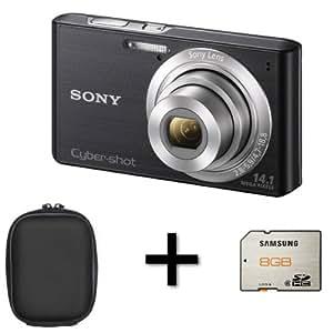 Sony DSCW610 - Black + Case + 8GB Memory Card (14.1MP, 4x Optical Zoom) 2.7 inch LCD