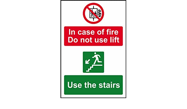 1mm PVC, In Case Of Fire Do Not Use Lift Use Stairs Sign Self Adhesive Vinyl