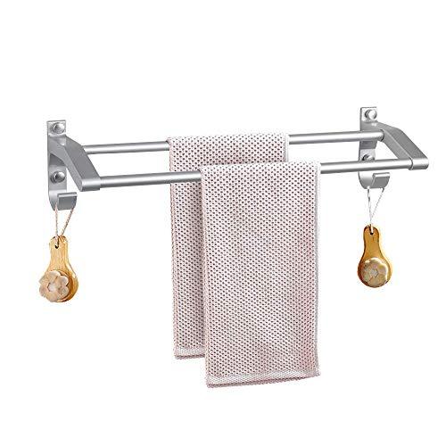 Agecash Doppel-Handtuchhalter, Handtuchhalter für Badezimmer-Regal mit Haken, zur Wandmontage, multifunktional, kein Bohren von Kleber oder Bohren (Doppel-haken-kleber)