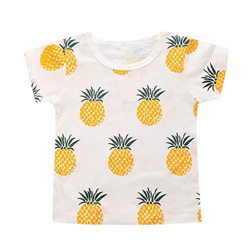 Julhold Kleinkind Baby Kinder Mädchen Jungen Niedlich Mode Lässig Cartoon Obst Ananas Drucken Lose T-Shirt Tops 0-5 - Duo Kostüm Junge Und Mädchen