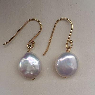 Boucles d'Oreilles en Argent Plaqué et Perles Big Button