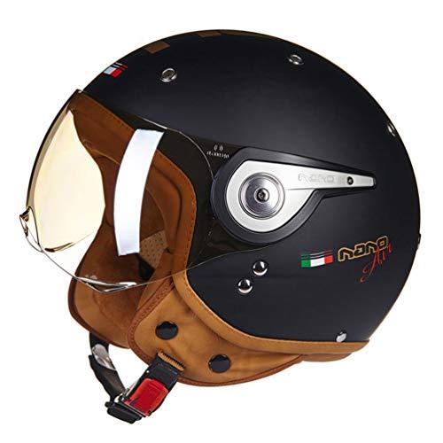 Qianliuk Casco para Motos Vintage Vespa Casco Moto Cascos de Moto Cara