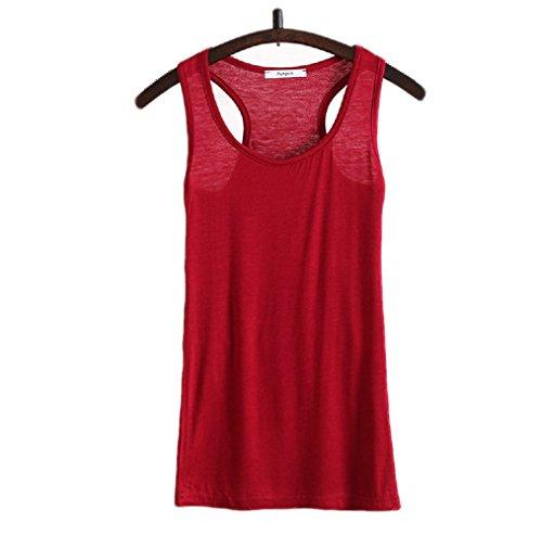 WENSENY Donna BXG Casual Canotta Senza Maniche T Shirt Vino Rosso