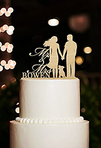 Wedding Cake Toppers Personalised Mr and Mrs with Name Bride and Groom with Dog Cake Toppers Rustic