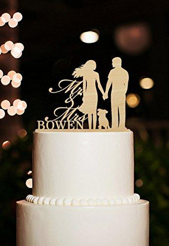 Hochzeit Tortenaufsatz personalisierbar Herr und Frau mit Namen Braut und Bräutigam mit Hund Kuchen Topper Rustikal