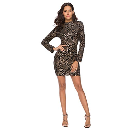 Damen Paillettenkleid FORH Damenmode Sexy V-Ausschnitt Langarm MiniKleid Funkelnde Sequined Club Partykleid Bodycon Bleistift Cocktailkleid...