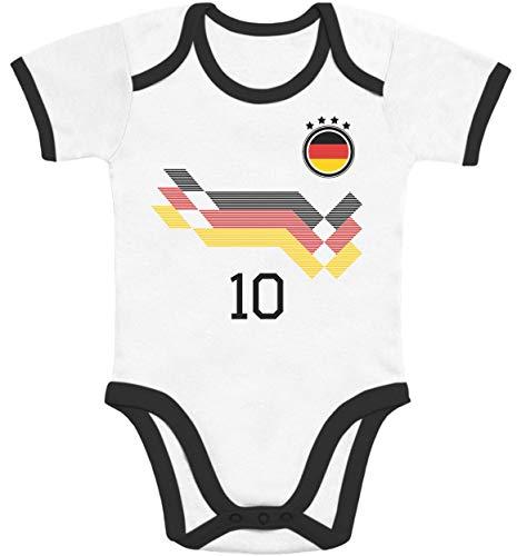 Shirtgeil Deutschland Fußball EM WM Trikot Kinder Wunschname Nummer Baby Body Kurzarm-Body 86/92 (12-18M) Black/White - Fußball Body