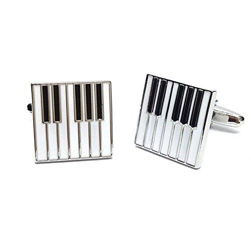 Black & White Emaillierte Klavier Tasten Manschettenknöpfe Geschenk Musik Fan Cuff Links (Silber)
