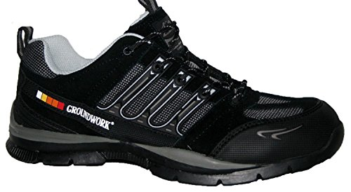 MENS GROUNDWORK BLACK SAFETY STEEL TOE CAP HIKING WORK SHOES TRAINERS BOOTS SIZE