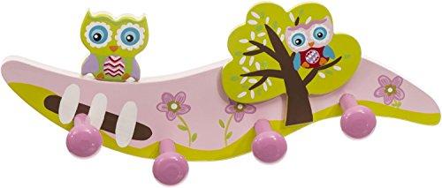 Bieco 23031797 - Kindergarderobe Eule mit 4 Haken, ca. 28 cm