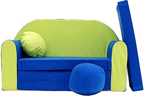 Pro cosmo n divano letto per bambini con pouf/poggiapiedi/cuscino, tessuto, 168x 98x 60cm