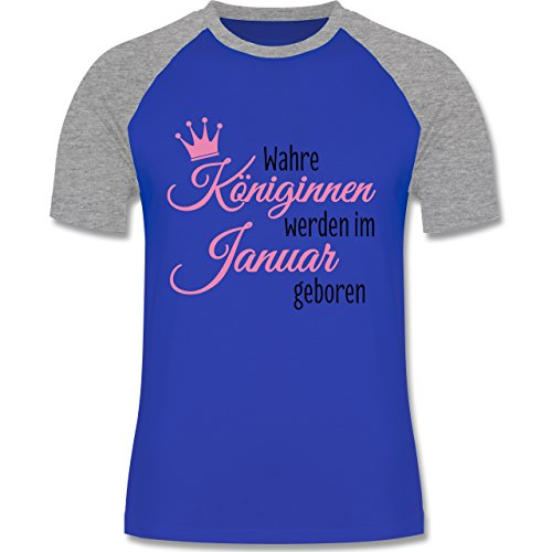 Geburtstag - Wahre Königinnen werden im Januar geboren - zweifarbiges  Baseballshirt für Männer Royalblau/Grau
