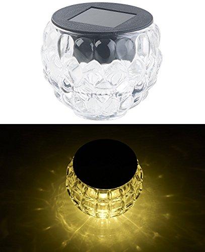 Lunartec LED-Tisch-Solarleuchten: Solar-LED-Windlicht Lucilla mit Tollem Lichtmuster, Glas, IP44, Ø...