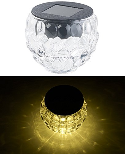 Lunartec LED-Deko-Solarlampen: Solar-LED-Windlicht Lucilla mit tollem Lichtmuster, Glas, IP44, Ø 8 cm (Solar-Dekolampe)