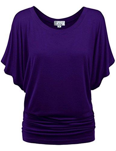 Match Damen T-Shirt Tops #141(141 Dunkel violett,XXX-Large) (T-shirt Dunkle Grünen Armee)