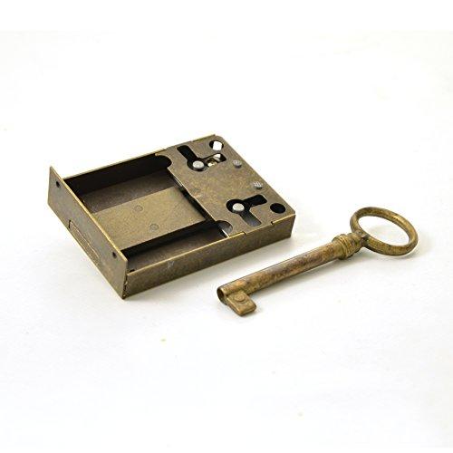 Kastenschloss (Dornmaß 50 mm) und Schlüssel aus Messing