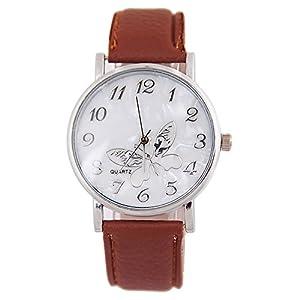 Chenang Schmetterlingsmuster Armbanduhr,Klassik Damen-Uhren Mode Quarzuhr Elegant Damen-Armbanduhr Classic Slim-Uhr Damen Analog Quarz Armbanduhr Ø38mm