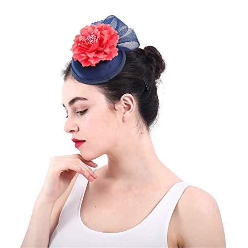 Frauen Vintage Hut mit Flower Net Mesh Haarspangen Hochzeit Cocktail Hut -